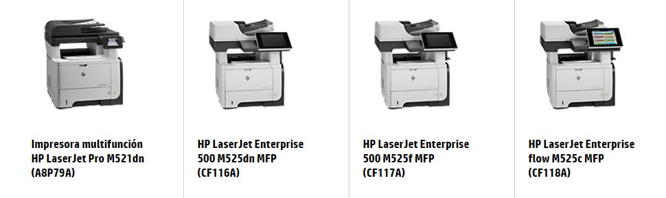 Impresora multifunción HP LaserJet Pro M521dn (A8P79A) HP LaserJet Enterprise 500 M525dn MFP (CF116A) HP LaserJet Enterprise 500 M525f MFP (CF117A) HP LaserJet Enterprise flow M525c MFP (CF118A)