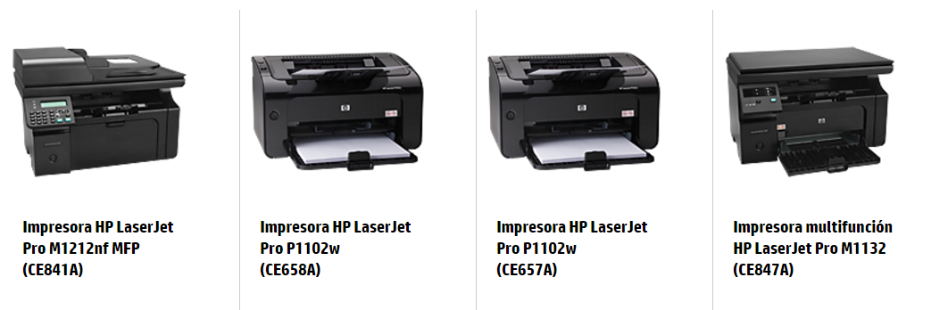 Impresora HP LaserJet Pro M1212nf MFP (CE841A) Impresora HP LaserJet Pro P1102w (CE658A) Impresora HP LaserJet Pro P1102w (CE657A) Impresora multifunción HP LaserJet Pro M1132 (CE847A)